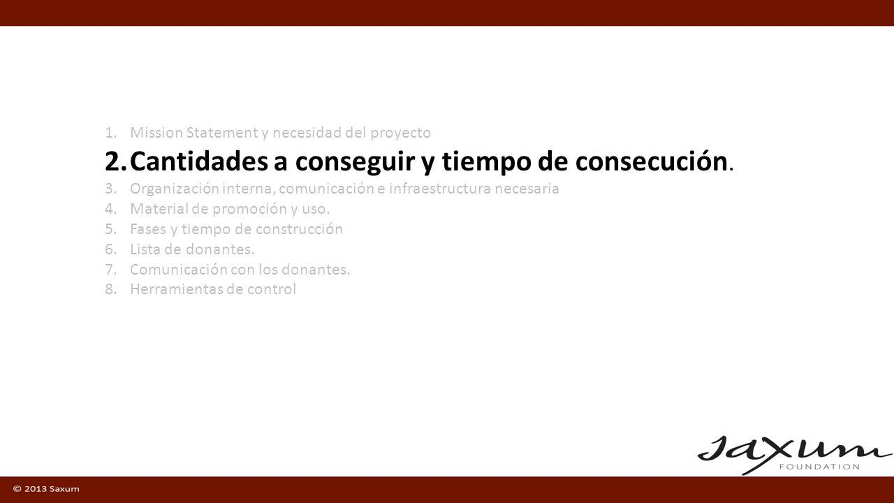 1.Mission Statement y necesidad del proyecto 2.Cantidades a conseguir y tiempo de consecución.