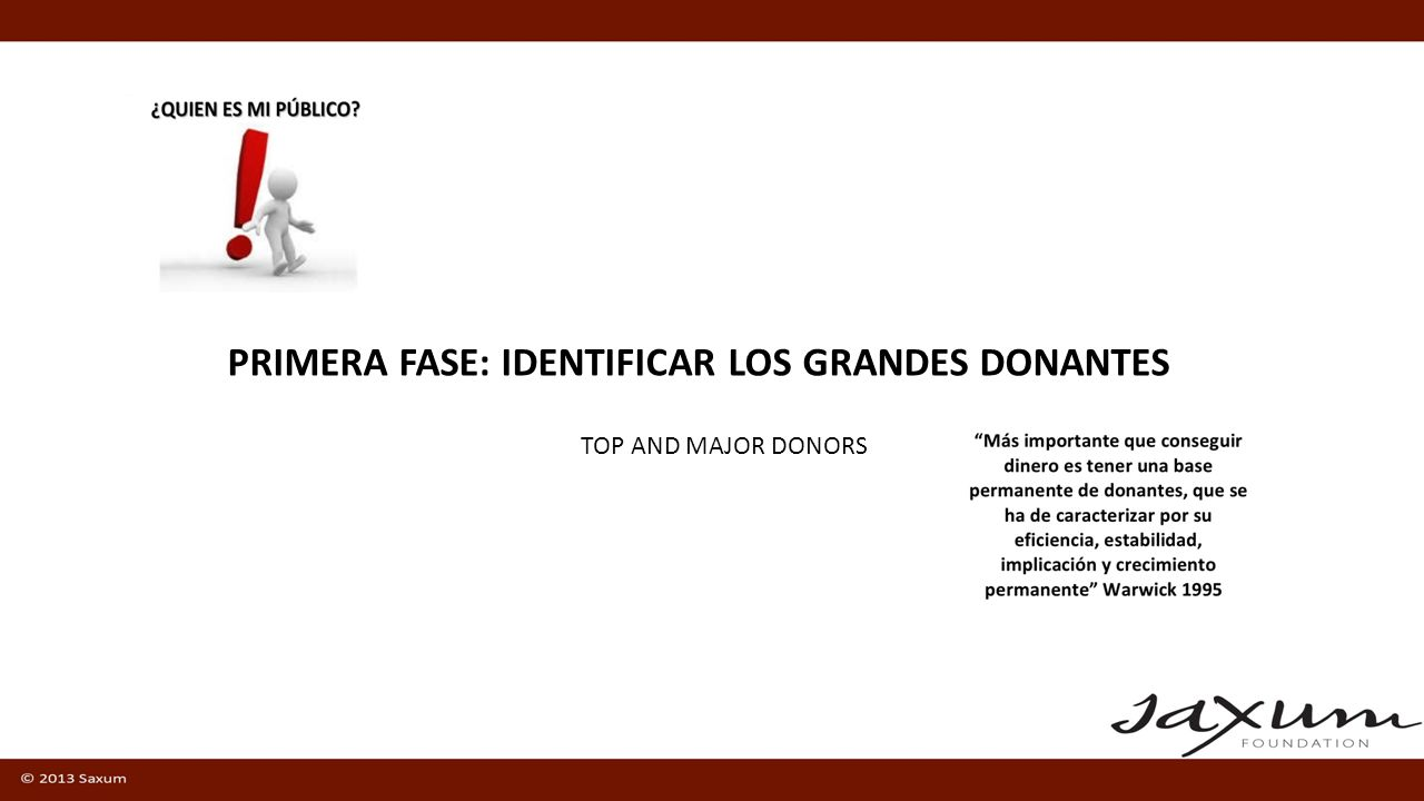 PRIMERA FASE: IDENTIFICAR LOS GRANDES DONANTES TOP AND MAJOR DONORS