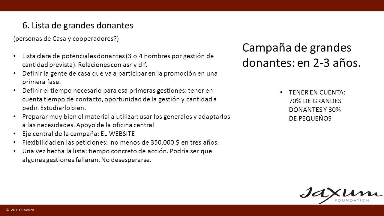 6. Lista de grandes donantes TENER EN CUENTA: 70% DE GRANDES DONANTES Y 30% DE PEQUEÑOS Campaña de grandes donantes: en 2-3 años. (personas de Casa y