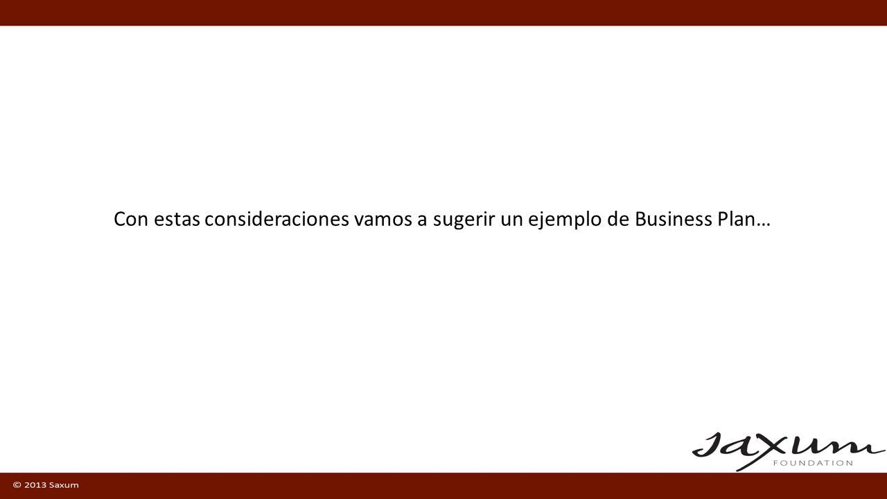 Con estas consideraciones vamos a sugerir un ejemplo de Business Plan…