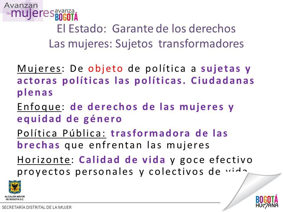 El Estado: Garante de los derechos Las mujeres: Sujetos transformadores Mujeres: De objeto de política a sujetas y actoras políticas las políticas.