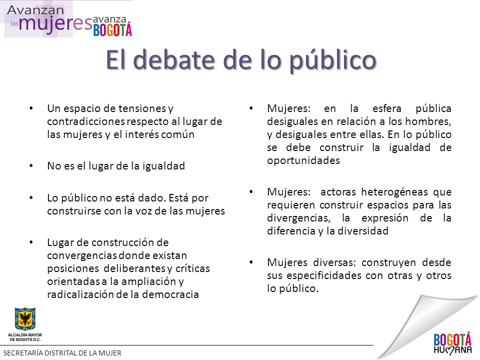 El debate de lo público Un espacio de tensiones y contradicciones respecto al lugar de las mujeres y el interés común No es el lugar de la igualdad Lo público no está dado.