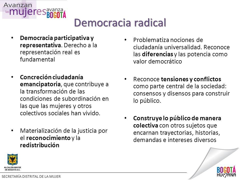 Democracia radical Democracia participativa y representativa.