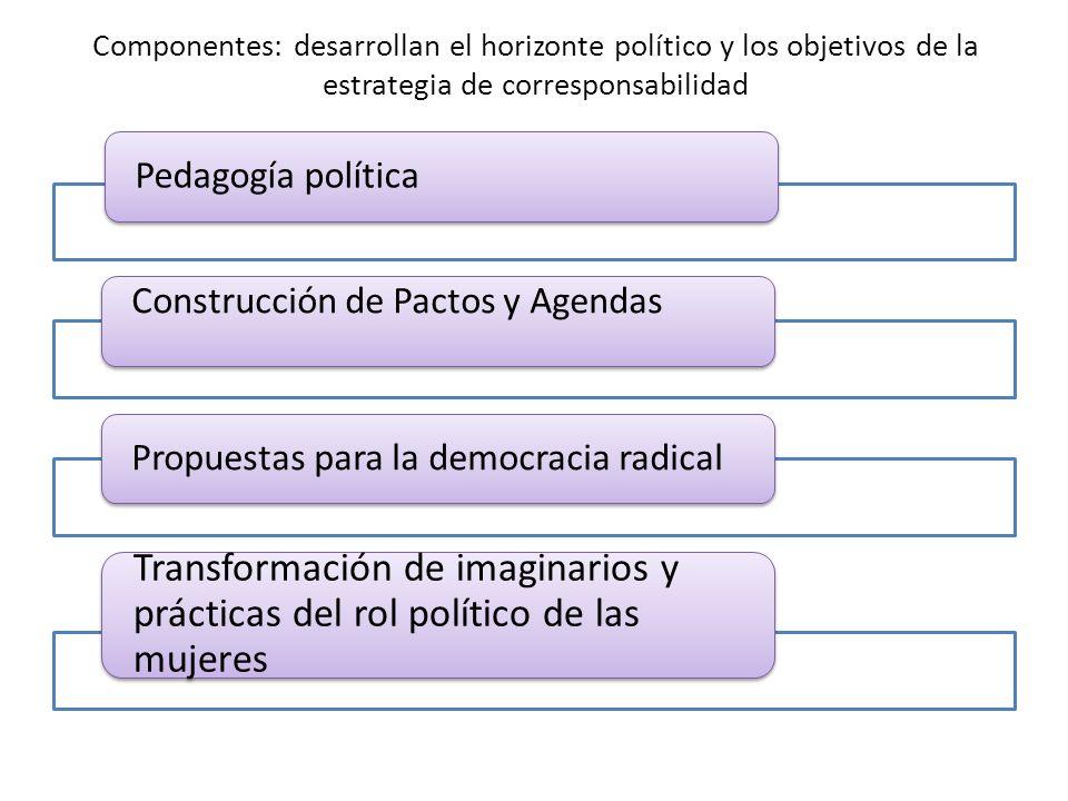 Componentes: desarrollan el horizonte político y los objetivos de la estrategia de corresponsabilidad Pedagogía política Construcción de Pactos y Agendas Propuestas para la democracia radical Transformación de imaginarios y prácticas del rol político de las mujeres