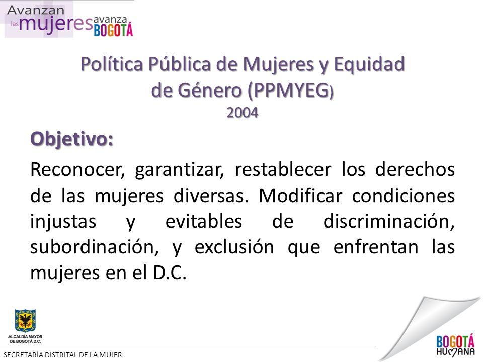 Política Pública de Mujeres y Equidad de Género (PPMYEG ) 2004 Objetivo: Reconocer, garantizar, restablecer los derechos de las mujeres diversas.