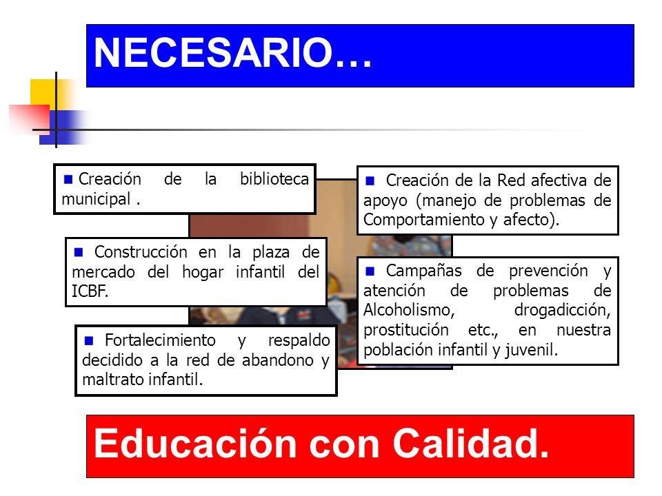 NECESARIO… Educación con Calidad. Construcción en la plaza de mercado del hogar infantil del ICBF.