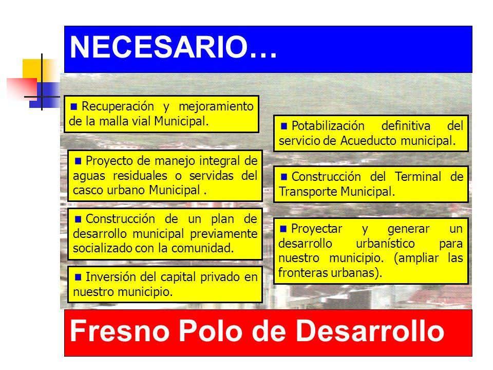 NECESARIO… Fresno Polo de Desarrollo Recuperación y mejoramiento de la malla vial Municipal.