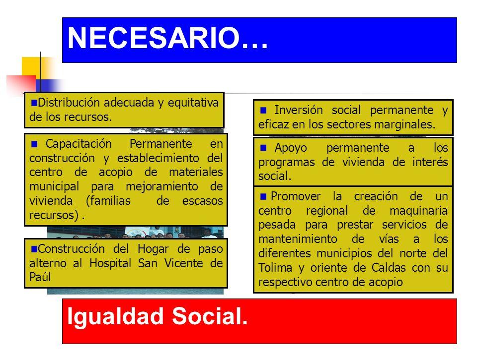 NECESARIO… Igualdad Social. Distribución adecuada y equitativa de los recursos.
