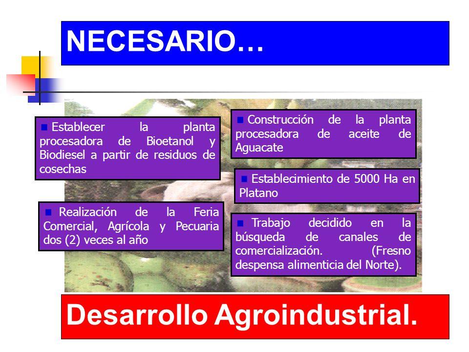 NECESARIO… Desarrollo Agroindustrial.Capacitación permanente para nuestros productores.