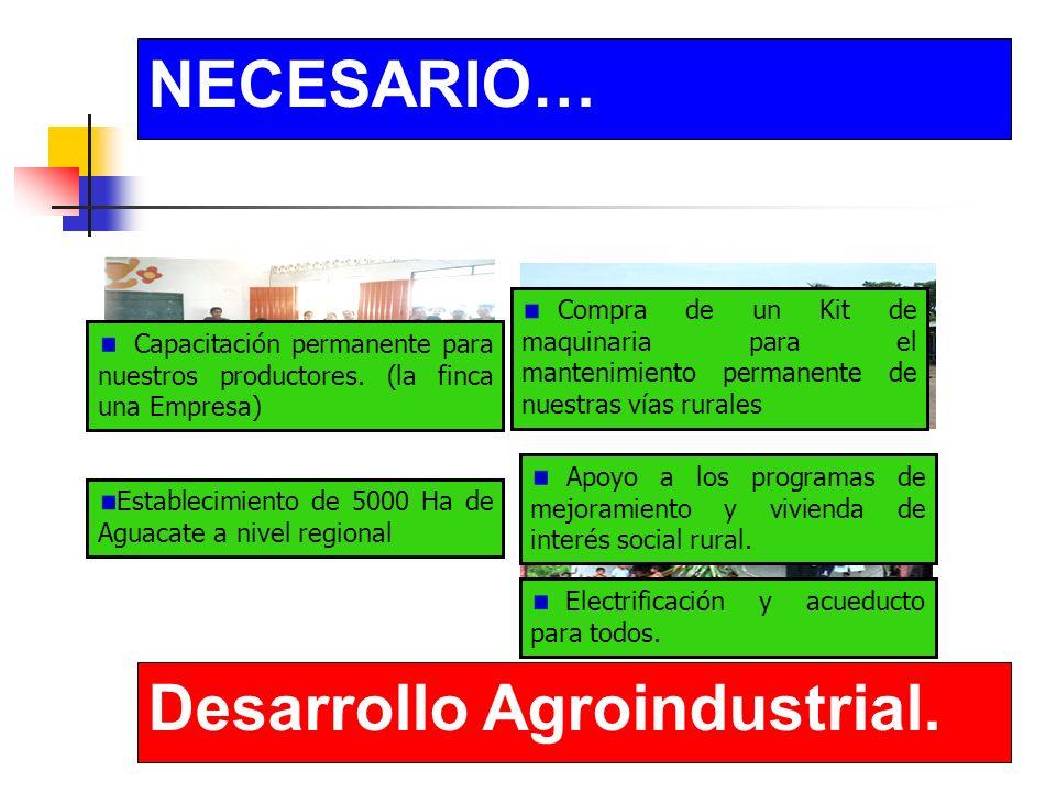 NECESARIO… Desarrollo Agroindustrial. Capacitación permanente para nuestros productores.