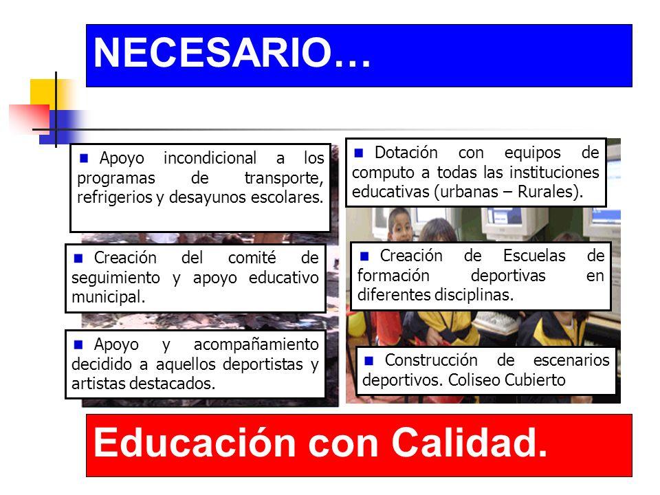 NECESARIO… Educación con Calidad. Construcción de escenarios deportivos.