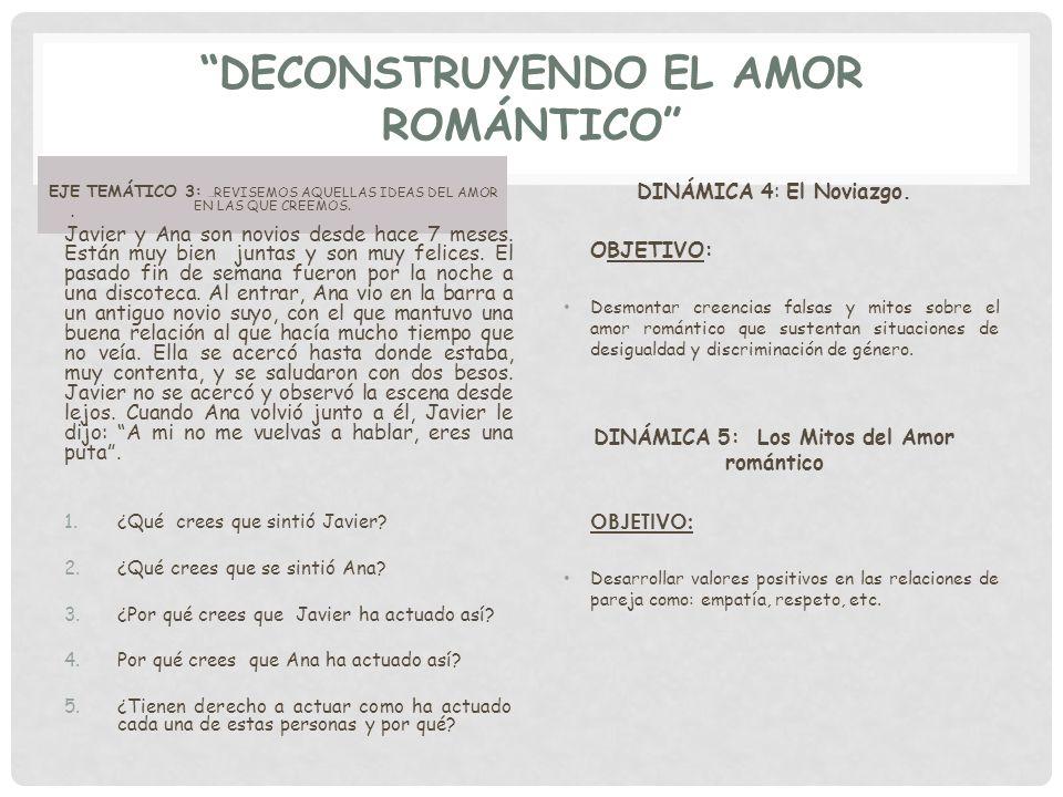 DECONSTRUYENDO EL AMOR ROMÁNTICO EJE TEMÁTICO 3: … REVISEMOS AQUELLAS IDEAS DEL AMOR EN LAS QUE CREEMOS.. Javier y Ana son novios desde hace 7 meses.