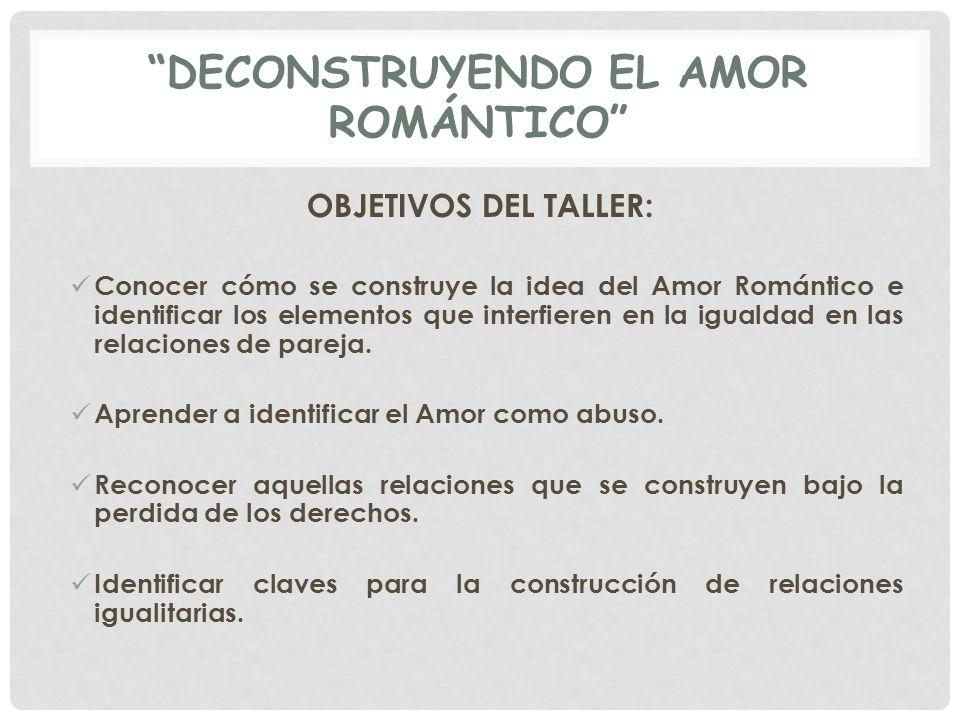 DECONSTRUYENDO EL AMOR ROMÁNTICO OBJETIVOS DEL TALLER: Conocer cómo se construye la idea del Amor Romántico e identificar los elementos que interfiere
