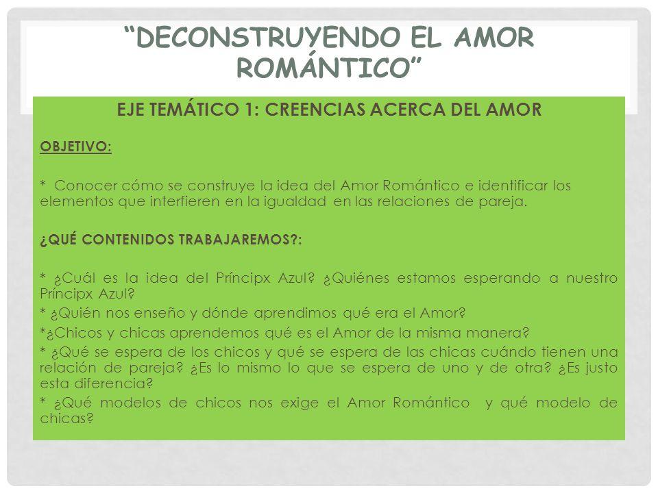 DECONSTRUYENDO EL AMOR ROMÁNTICO EJE TEMÁTICO 1: CREENCIAS ACERCA DEL AMOR OBJETIVO: * Conocer cómo se construye la idea del Amor Romántico e identifi