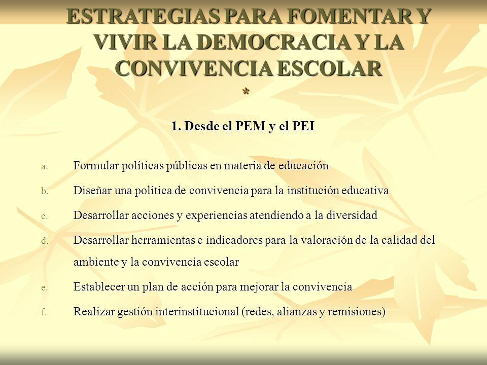 1. Desde el PEM y el PEI 1. Desde el PEM y el PEI a.