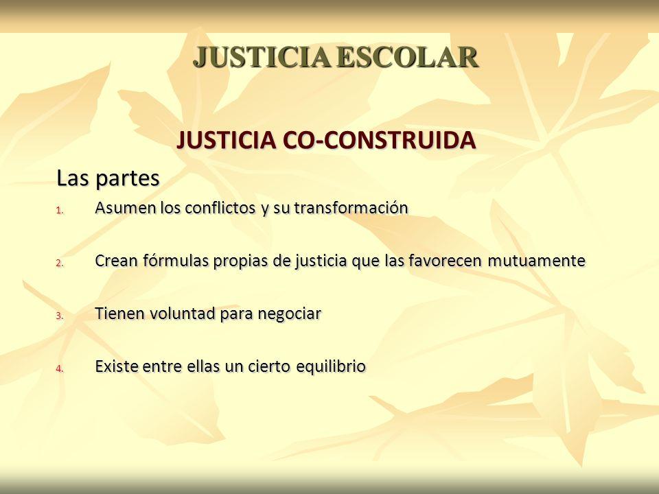 JUSTICIA CO-CONSTRUIDA Las partes 1. Asumen los conflictos y su transformación 2.