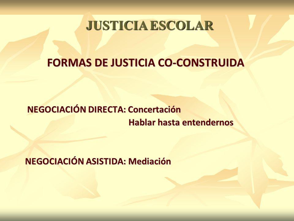 FORMAS DE JUSTICIA CO-CONSTRUIDA NEGOCIACIÓN DIRECTA: Concertación NEGOCIACIÓN DIRECTA: Concertación Hablar hasta entendernos Hablar hasta entendernos NEGOCIACIÓN ASISTIDA: Mediación JUSTICIA ESCOLAR