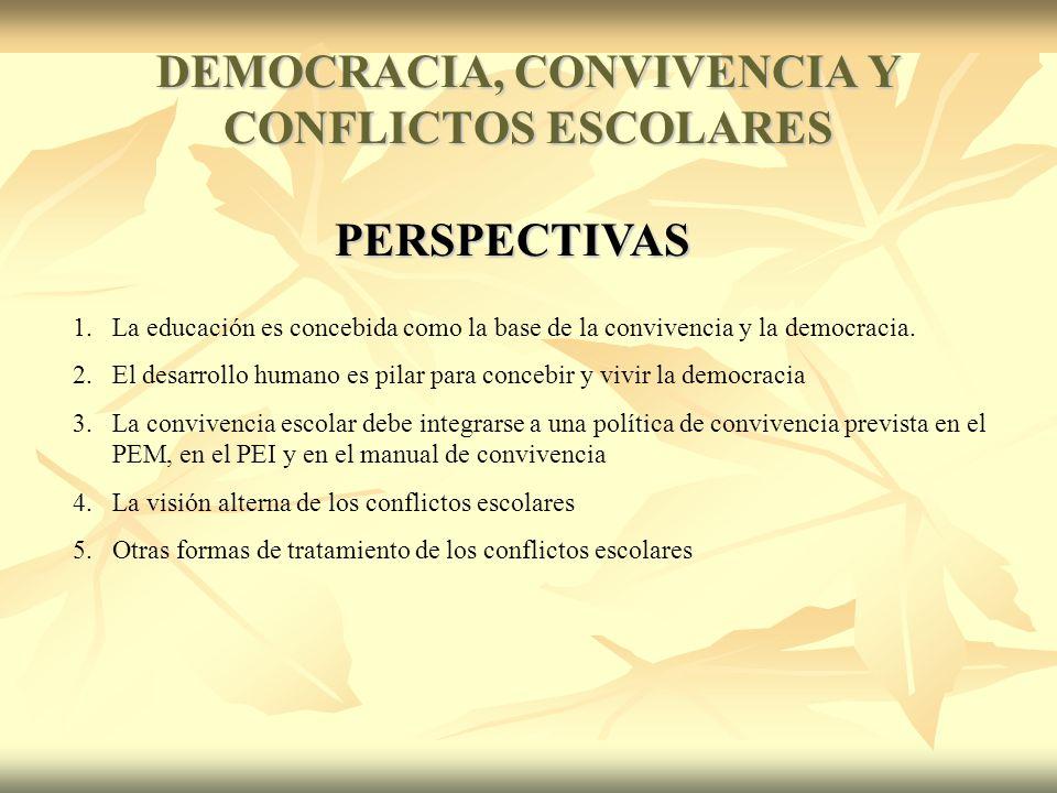 DEMOCRACIA, CONVIVENCIA Y CONFLICTOS ESCOLARES PERSPECTIVAS 1.La educación es concebida como la base de la convivencia y la democracia.