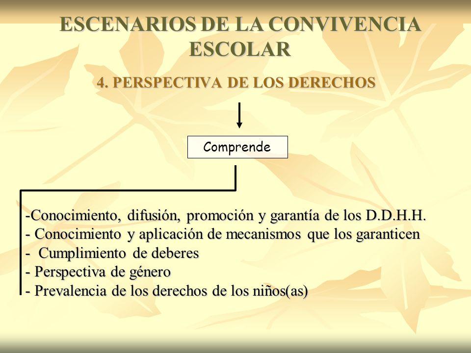 Comprende -Conocimiento, difusión, promoción y garantía de los D.D.H.H.