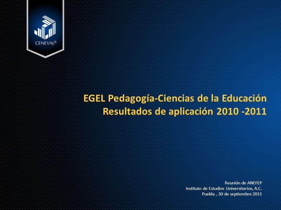 EGEL Pedagogía-Ciencias de la Educación Resultados de aplicación 2010 -2011 Reunión de ANEFEP Instituto de Estudios Universitarios, A.C.