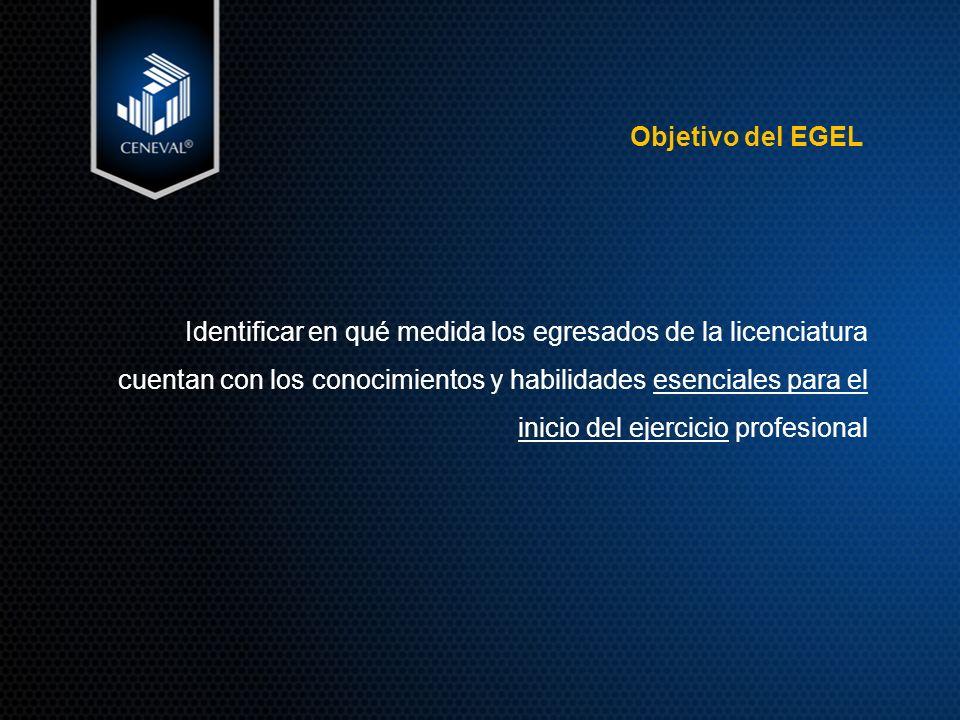 Objetivo del EGEL Identificar en qué medida los egresados de la licenciatura cuentan con los conocimientos y habilidades esenciales para el inicio del ejercicio profesional
