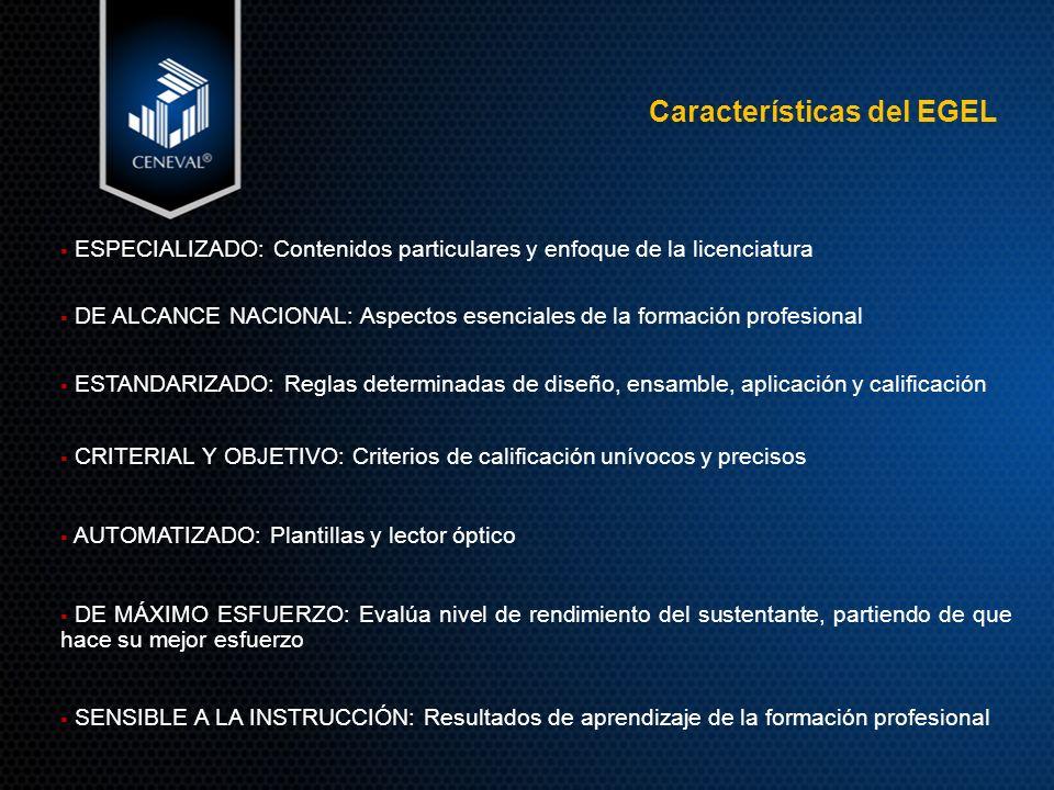 Características del EGEL ESPECIALIZADO: Contenidos particulares y enfoque de la licenciatura DE ALCANCE NACIONAL: Aspectos esenciales de la formación profesional ESTANDARIZADO: Reglas determinadas de diseño, ensamble, aplicación y calificación CRITERIAL Y OBJETIVO: Criterios de calificación unívocos y precisos AUTOMATIZADO: Plantillas y lector óptico DE MÁXIMO ESFUERZO: Evalúa nivel de rendimiento del sustentante, partiendo de que hace su mejor esfuerzo SENSIBLE A LA INSTRUCCIÓN: Resultados de aprendizaje de la formación profesional