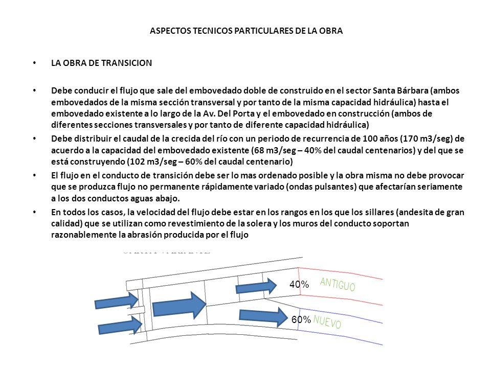 ASPECTOS TECNICOS PARTICULARES DE LA OBRA LA OBRA DE TRANSICION Debe conducir el flujo que sale del embovedado doble de construido en el sector Santa