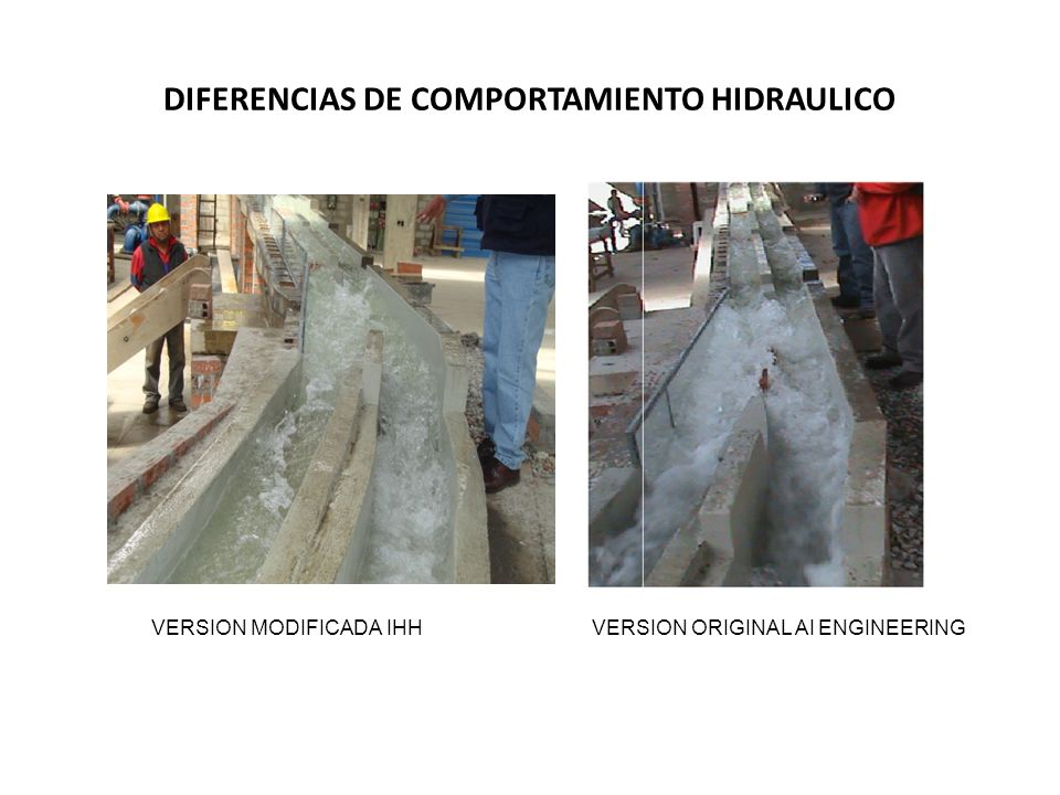 DIFERENCIAS DE COMPORTAMIENTO HIDRAULICO VERSION MODIFICADA IHHVERSION ORIGINAL AI ENGINEERING