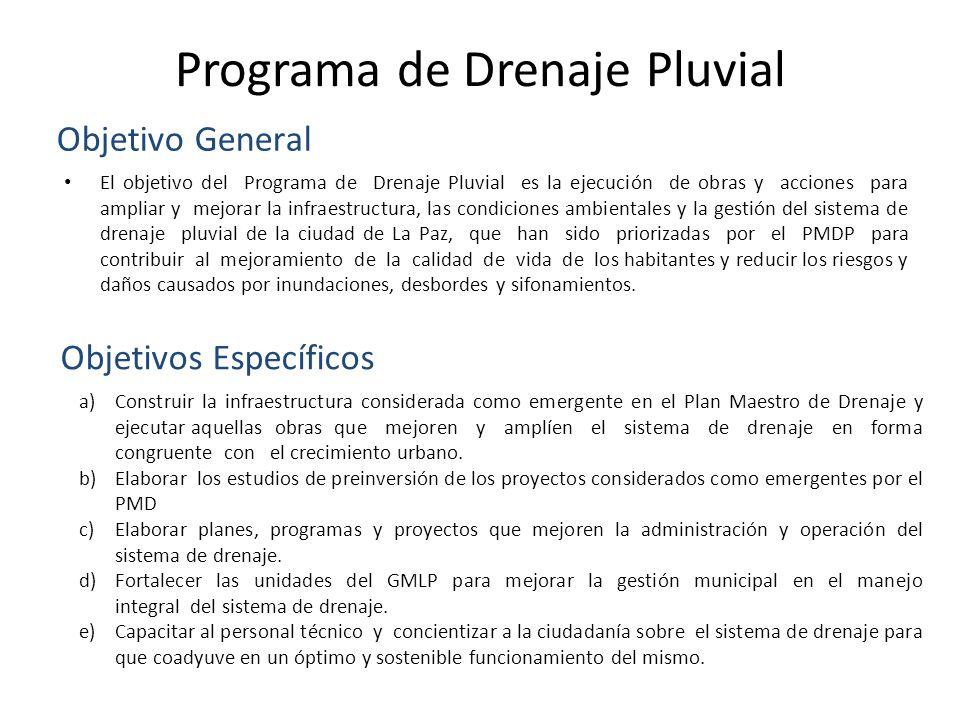 Programa de Drenaje Pluvial El objetivo del Programa de Drenaje Pluvial es la ejecución de obras y acciones para ampliar y mejorar la infraestructura,