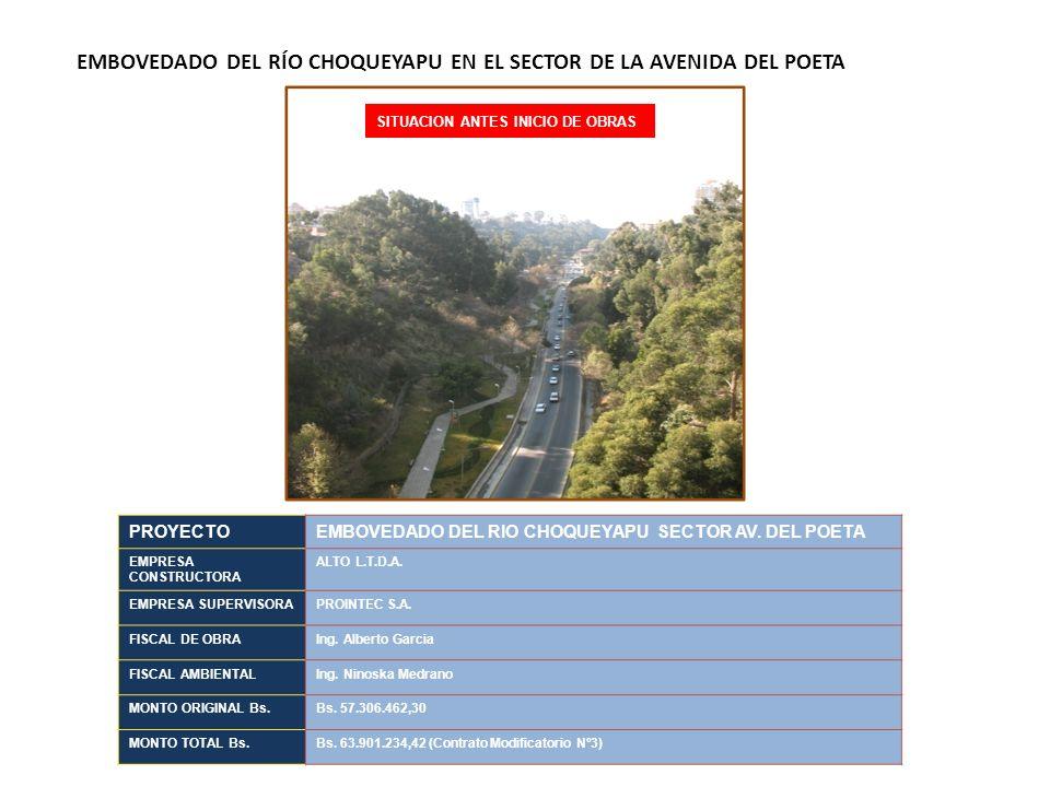 EMBOVEDADO DEL RÍO CHOQUEYAPU EN EL SECTOR DE LA AVENIDA DEL POETA PROYECTOEMBOVEDADO DEL RIO CHOQUEYAPU SECTOR AV. DEL POETA EMPRESA CONSTRUCTORA ALT