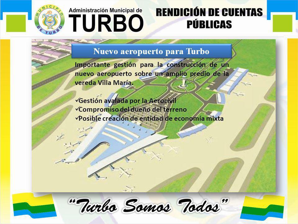 Nuevo aeropuerto para Turbo Importante gestión para la construcción de un nuevo aeropuerto sobre un amplio predio de la vereda Villa María. Gestión av