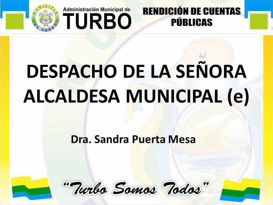 DESPACHO DE LA SEÑORA ALCALDESA MUNICIPAL (e) Dra. Sandra Puerta Mesa