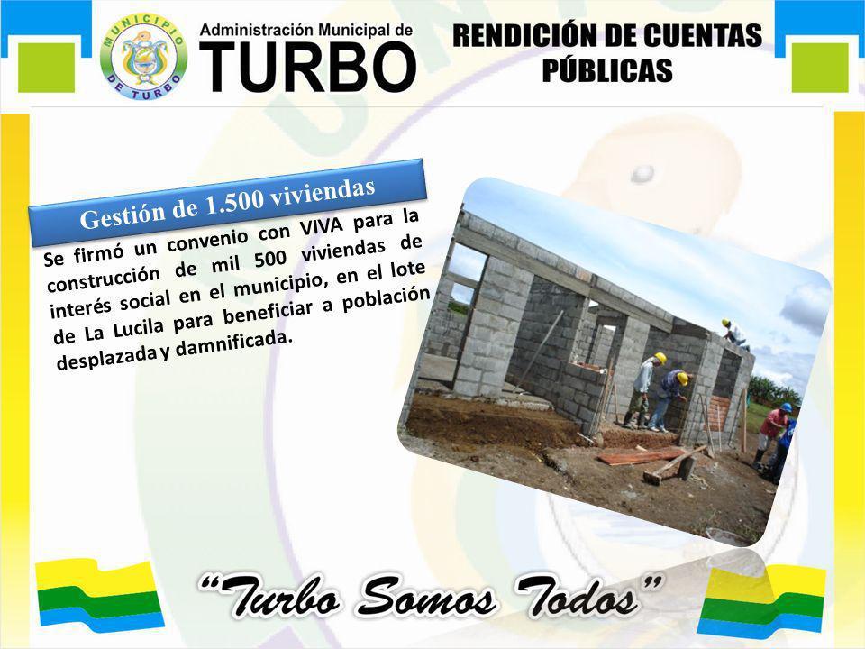 Gestión de 1.500 viviendas Se firmó un convenio con VIVA para la construcción de mil 500 viviendas de interés social en el municipio, en el lote de La