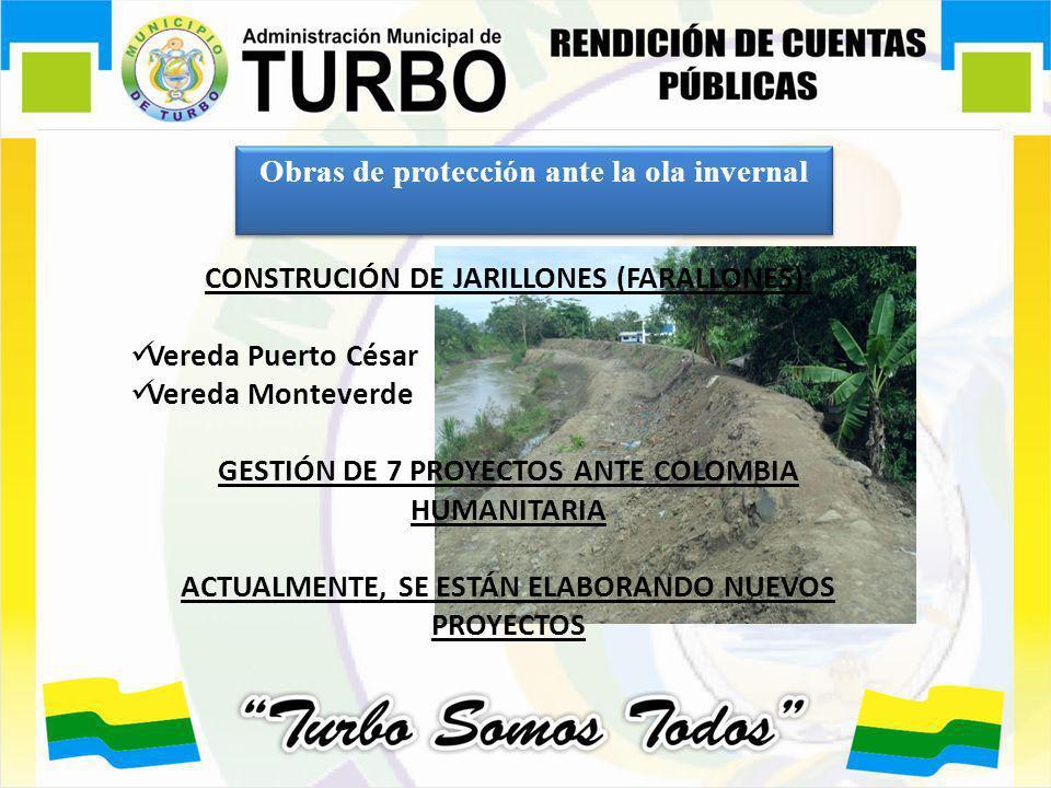 Obras de protección ante la ola invernal CONSTRUCIÓN DE JARILLONES (FARALLONES): Vereda Puerto César Vereda Monteverde GESTIÓN DE 7 PROYECTOS ANTE COL