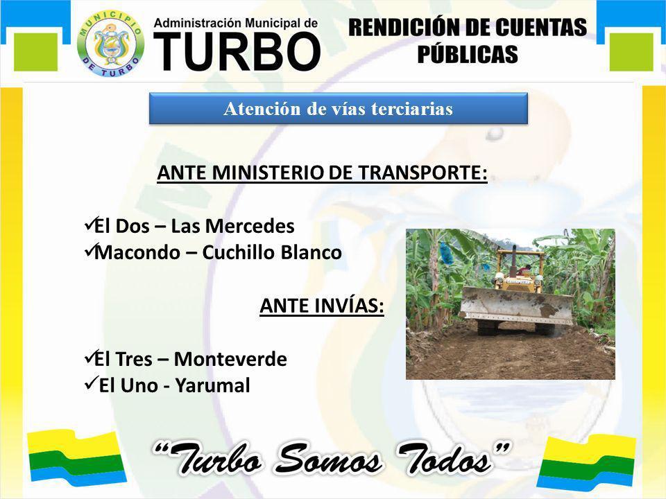 Atención de vías terciarias ANTE MINISTERIO DE TRANSPORTE: El Dos – Las Mercedes Macondo – Cuchillo Blanco ANTE INVÍAS: El Tres – Monteverde El Uno -