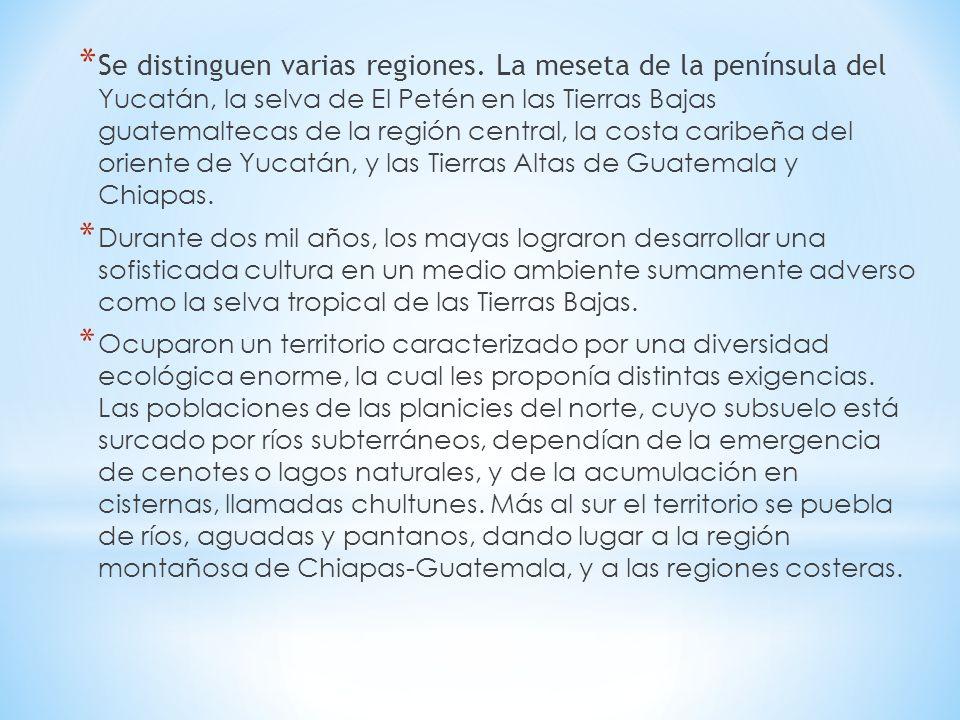 * Se distinguen varias regiones. La meseta de la península del Yucatán, la selva de El Petén en las Tierras Bajas guatemaltecas de la región central,
