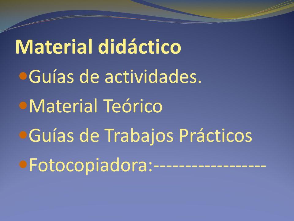 Material didáctico Guías de actividades.