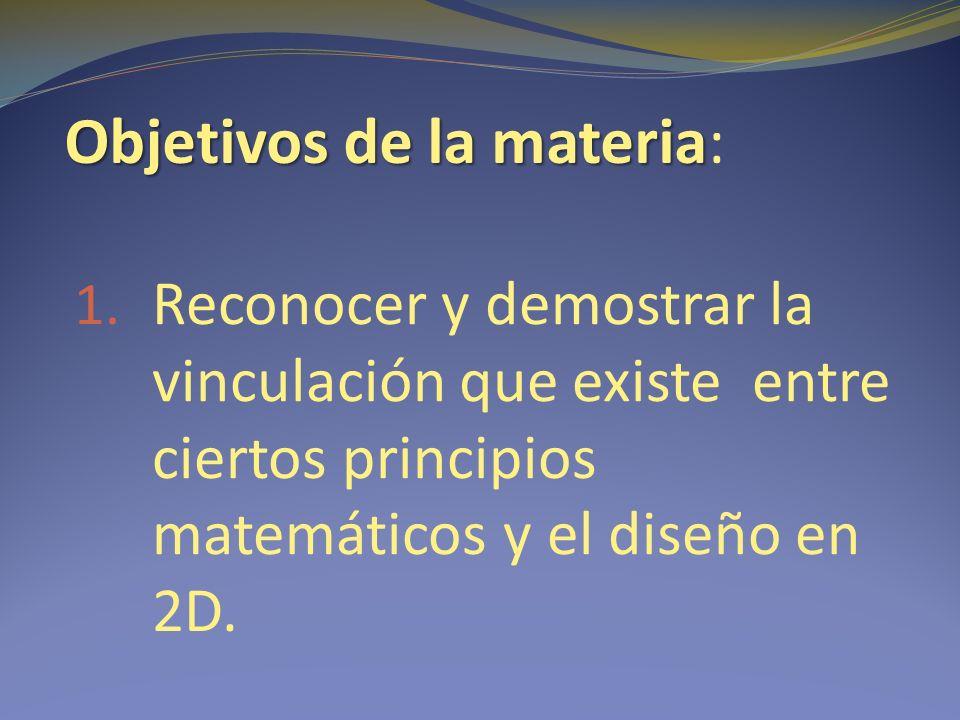 Objetivos de la materia Objetivos de la materia: 1.