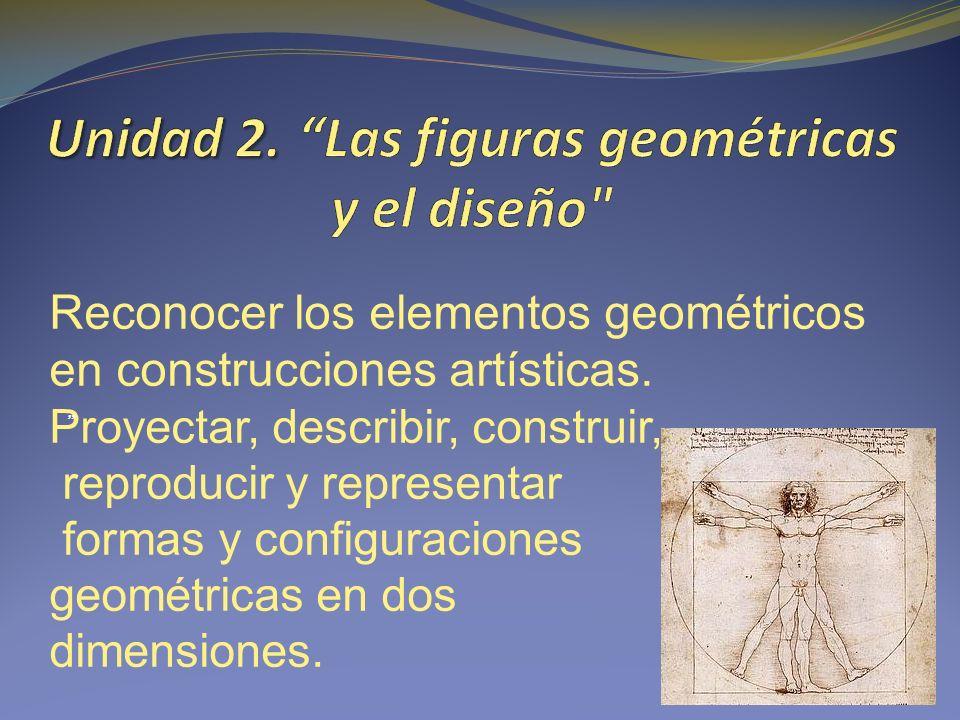 Reconocer los elementos geométricos en construcciones artísticas.