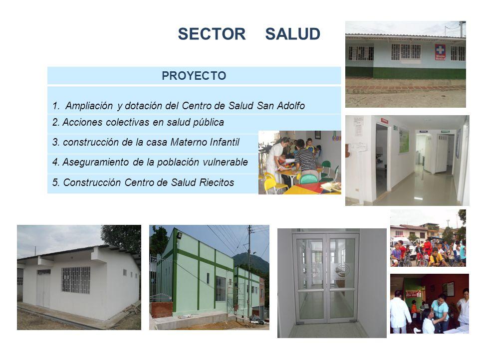 SECTOR SALUD PROYECTO 1. Ampliación y dotación del Centro de Salud San Adolfo 2.