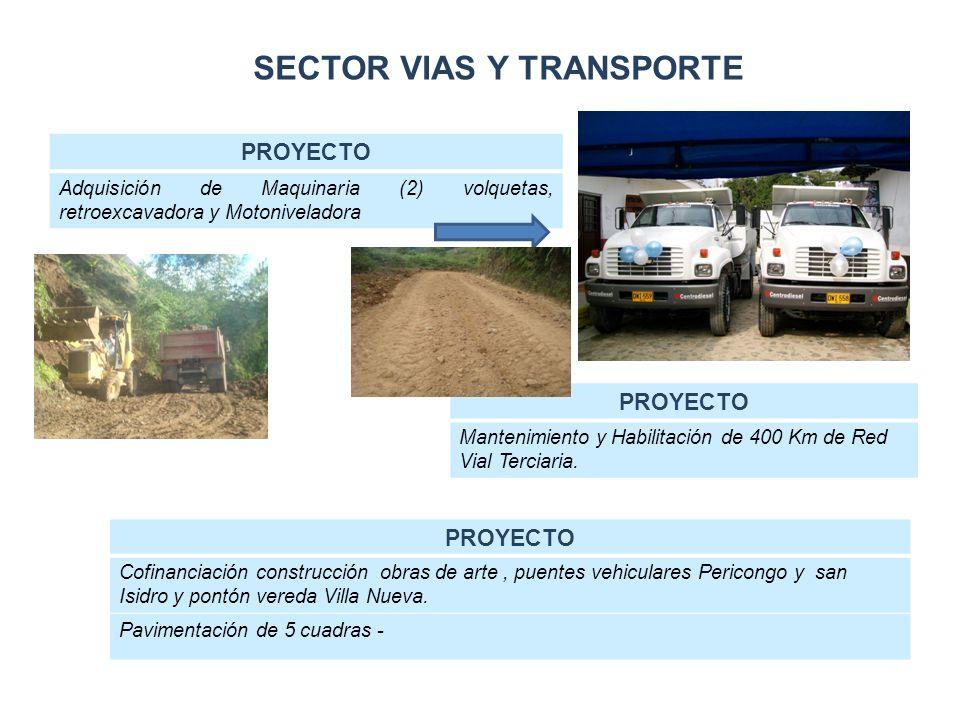 SECTOR VIAS Y TRANSPORTE PROYECTO Adquisición de Maquinaria (2) volquetas, retroexcavadora y Motoniveladora PROYECTO Mantenimiento y Habilitación de 400 Km de Red Vial Terciaria.