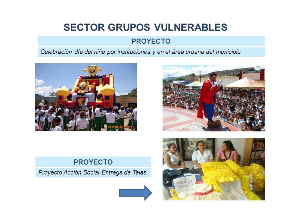 SECTOR GRUPOS VULNERABLES PROYECTO Celebración día del niño por instituciones y en el área urbana del municipio PROYECTO Proyecto Acción Social Entrega de Telas
