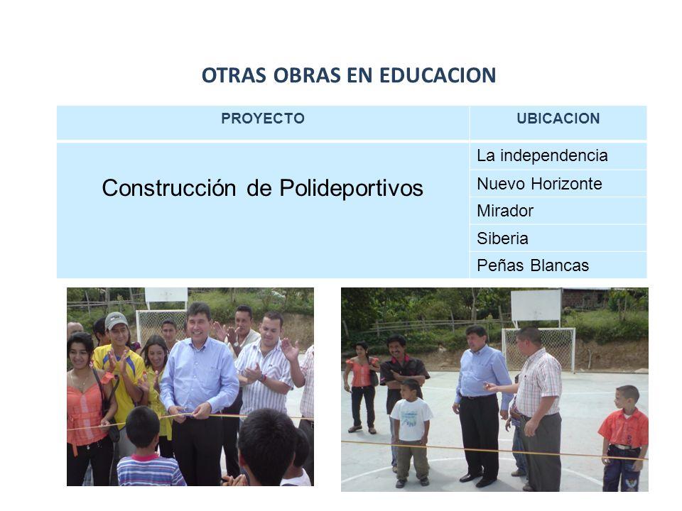 OTRAS OBRAS EN EDUCACION PROYECTOUBICACION Construcción de Polideportivos La independencia Nuevo Horizonte Mirador Siberia Peñas Blancas