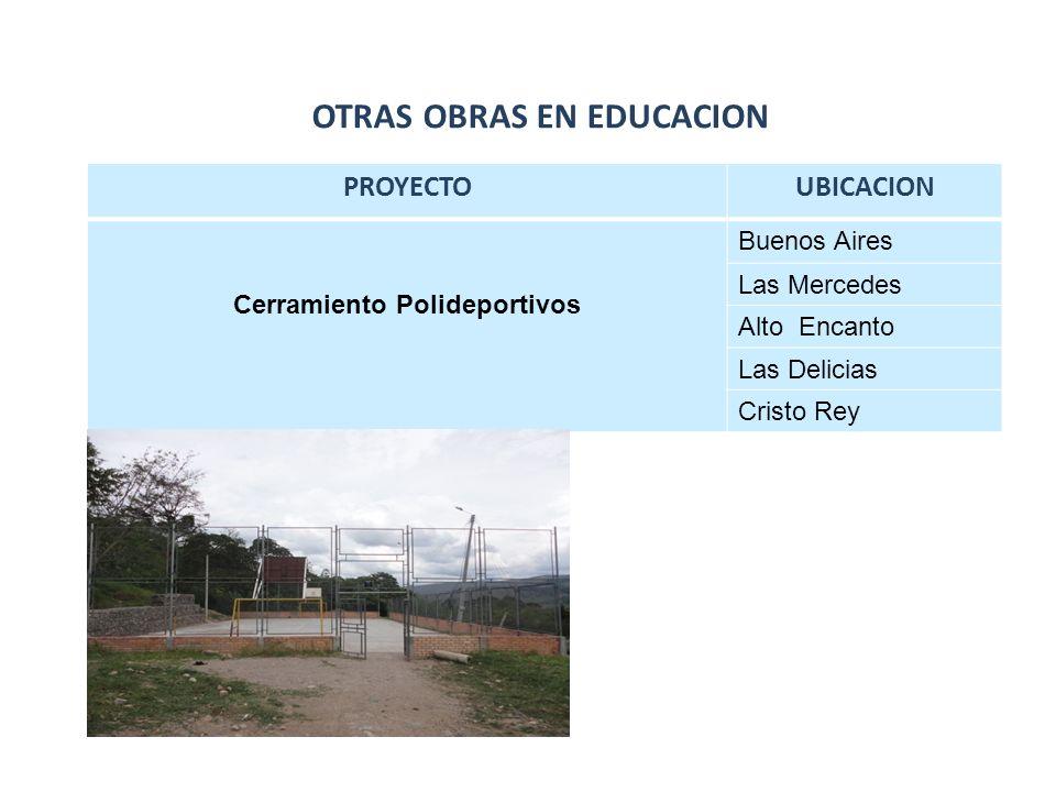 PROYECTOUBICACION Cerramiento Polideportivos Buenos Aires Las Mercedes Alto Encanto Las Delicias Cristo Rey OTRAS OBRAS EN EDUCACION