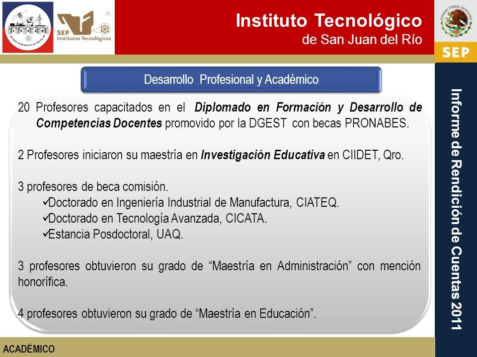 Instituto Tecnológico de San Juan del Río Informe de Rendición de Cuentas 2011 20 Profesores capacitados en el Diplomado en Formación y Desarrollo de