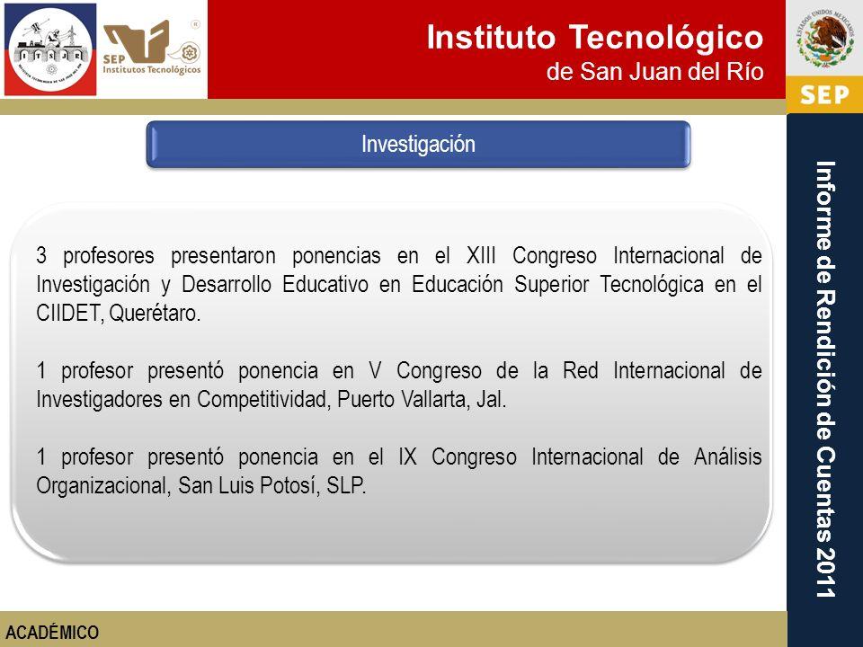 Instituto Tecnológico de San Juan del Río Informe de Rendición de Cuentas 2011 3 profesores presentaron ponencias en el XIII Congreso Internacional de