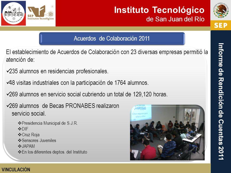 Instituto Tecnológico de San Juan del Río Informe de Rendición de Cuentas 2011 El establecimiento de Acuerdos de Colaboración con 23 diversas empresas