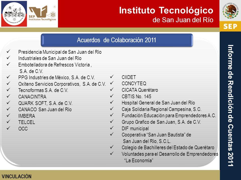 Instituto Tecnológico de San Juan del Río Informe de Rendición de Cuentas 2011 CIIDET CONCYTEQ CICATA Querétaro CBTIS No. 145 Hospital General de San