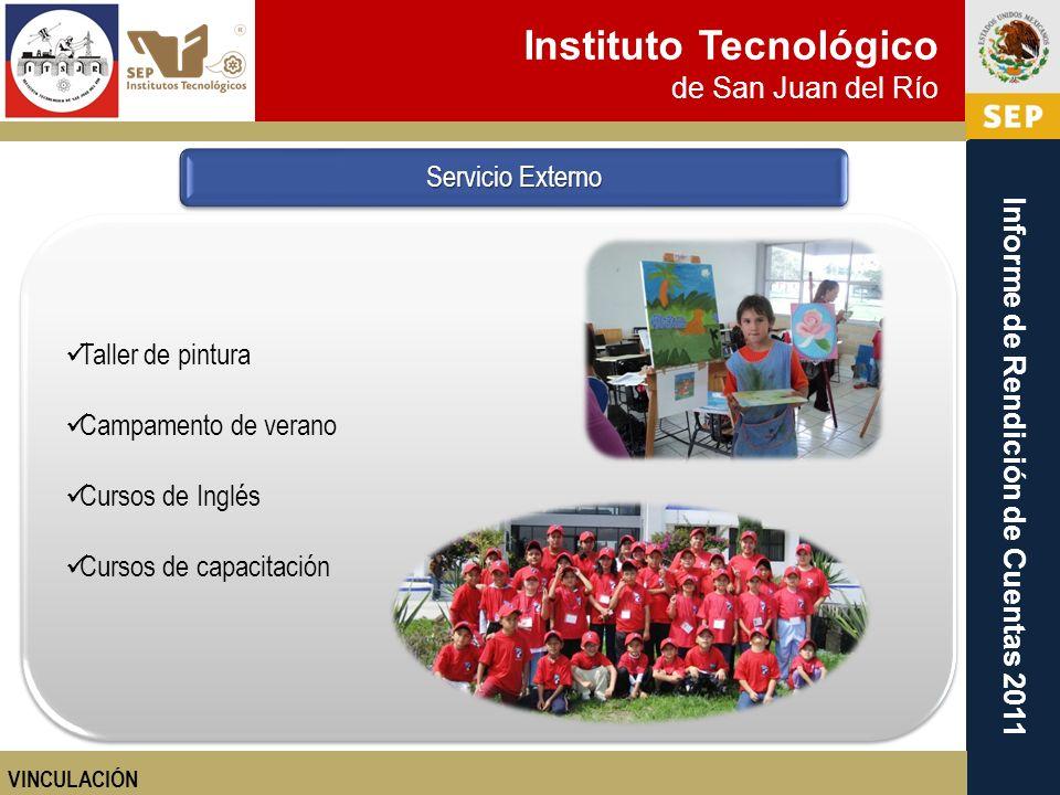 Instituto Tecnológico de San Juan del Río Informe de Rendición de Cuentas 2011 Taller de pintura Campamento de verano Cursos de Inglés Cursos de capac