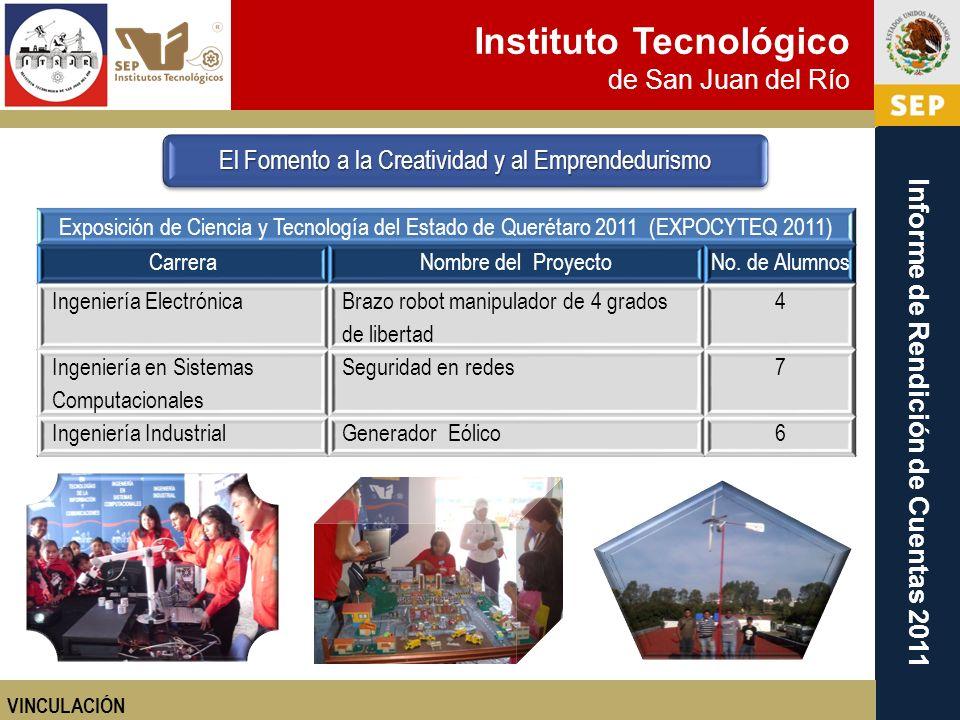 Instituto Tecnológico de San Juan del Río Informe de Rendición de Cuentas 2011 El Fomento a la Creatividad y al Emprendedurismo VINCULACIÓN Exposición